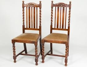 SET OF FOUR ENGLISH REVIVAL OAK SIDE CHAIRS