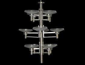 CHROME AND GLASS PENDENT TWELVE-LIGHT CHANDELIER