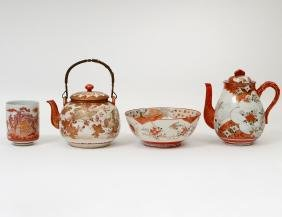 FOUR JAPANESE KUTANI PORCELAIN TABLE ITEMS