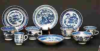 69 10 Blue  White Porcelain Canton asst Dishes  Cups