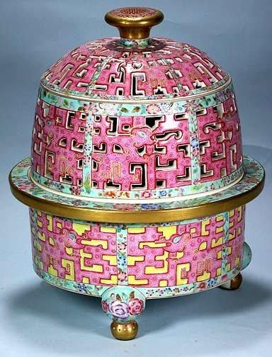 120: Chinese Pink Porcelain Covered Incense Burner