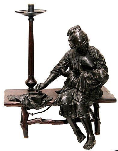 224: Antique Japanese Bronze Woman & Child
