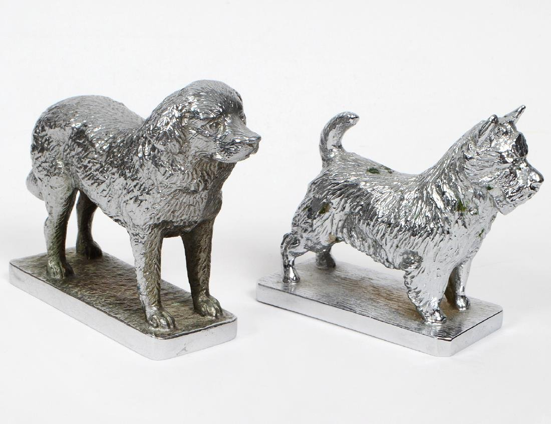 TWO ENGLISH CHROMED STEEL AUTOMOBILE DOG MASCOTS
