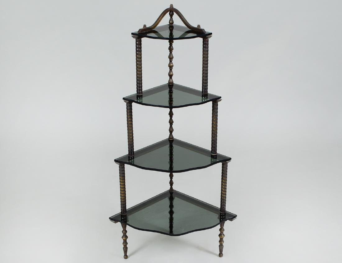 HOLLYWOOD REGENCY BRASS AND GLASS CORNER ETAGERE