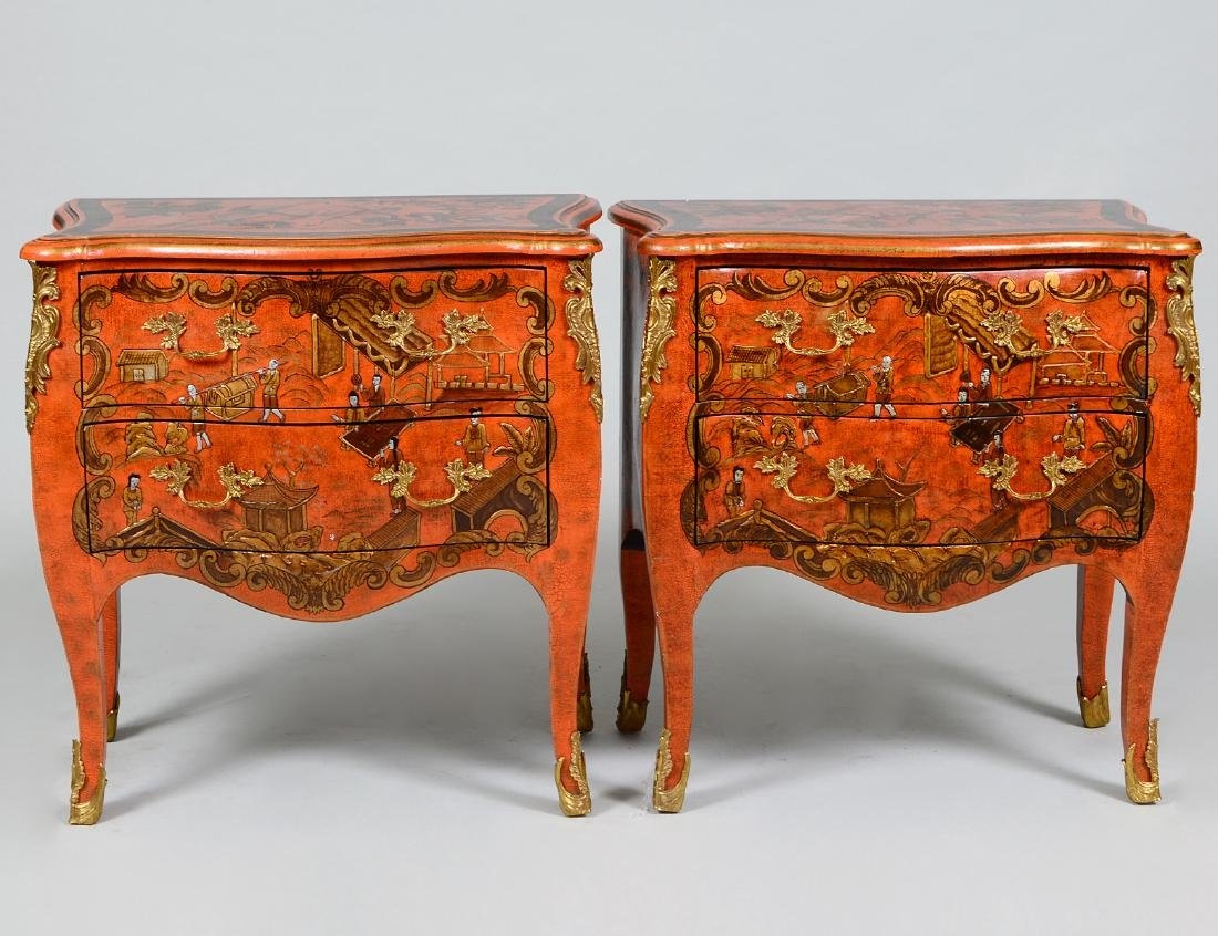 PAIR OF LOUIS XV STYLE 'RED LACQUER' COMMODES