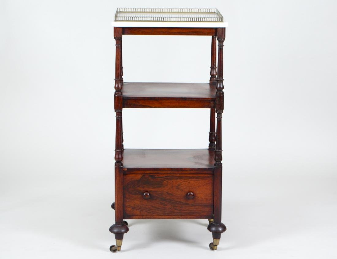 EARLY VICTORIAN MARBLE TOP ROSEWOOD ETAGERE