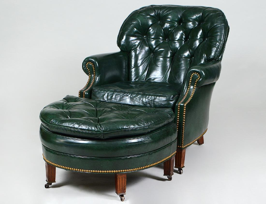 TRADITIONAL TUFTED LEATHER ARMCHAIR & OTTOMAN