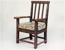 GEORGIAN PROVINCIAL CARVED OAK ARMCHAIR