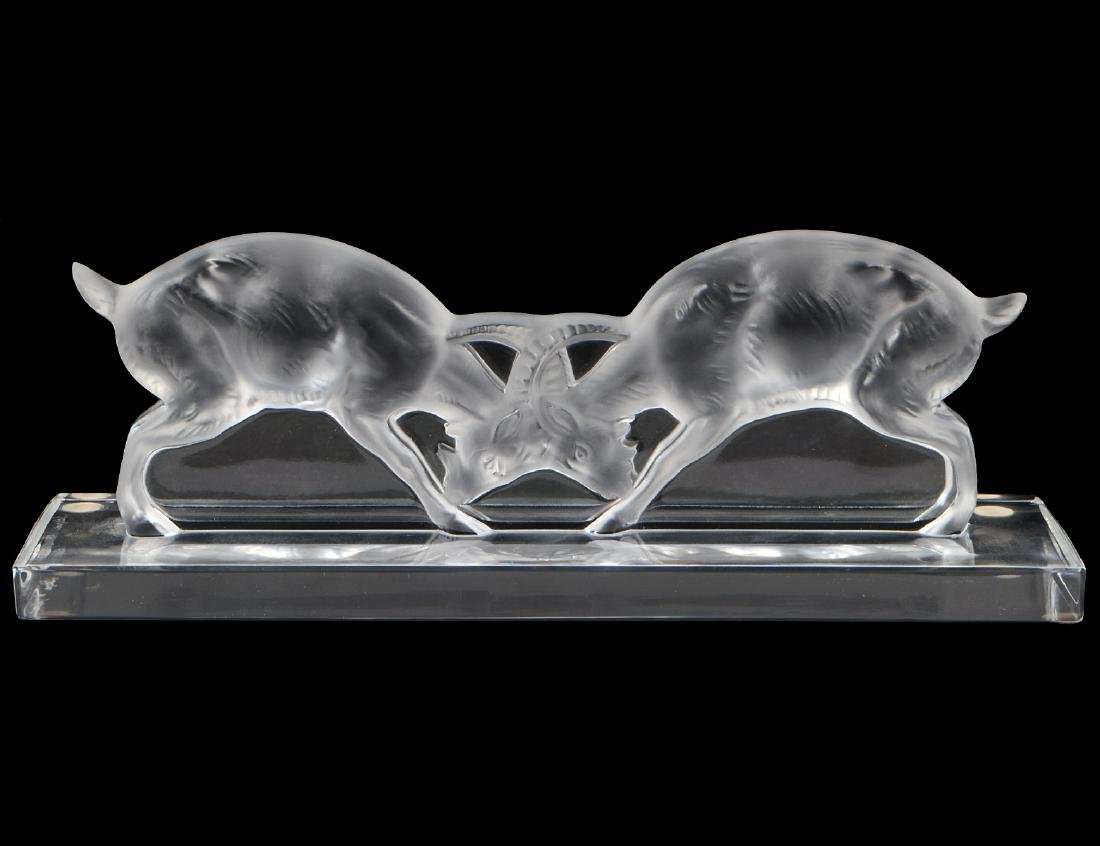 LALIQUE COLORLESS GLASS MODEL OF TWO RAMS