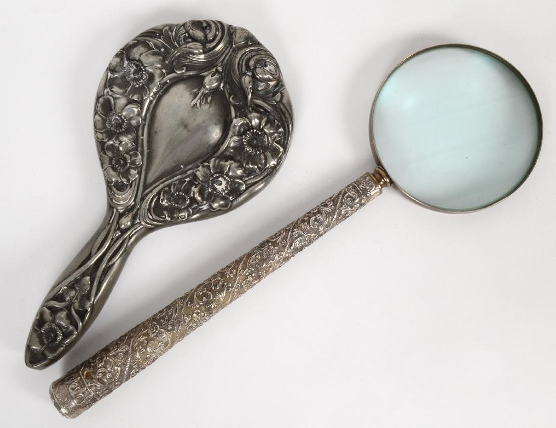 ART NOUVEAU SILVER MIRROR AND MAGNIFYING GLASS