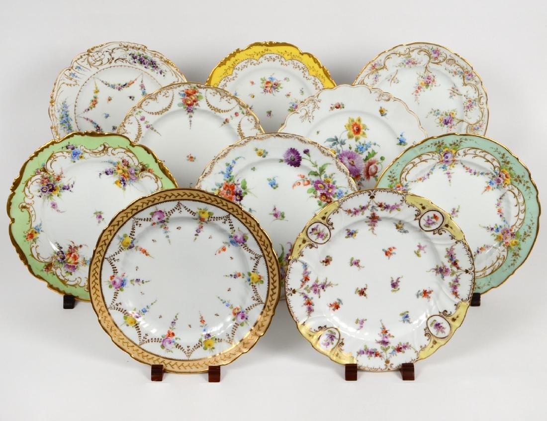 TEN VARIOUS DRESDEN PORCELAIN DINNER PLATES