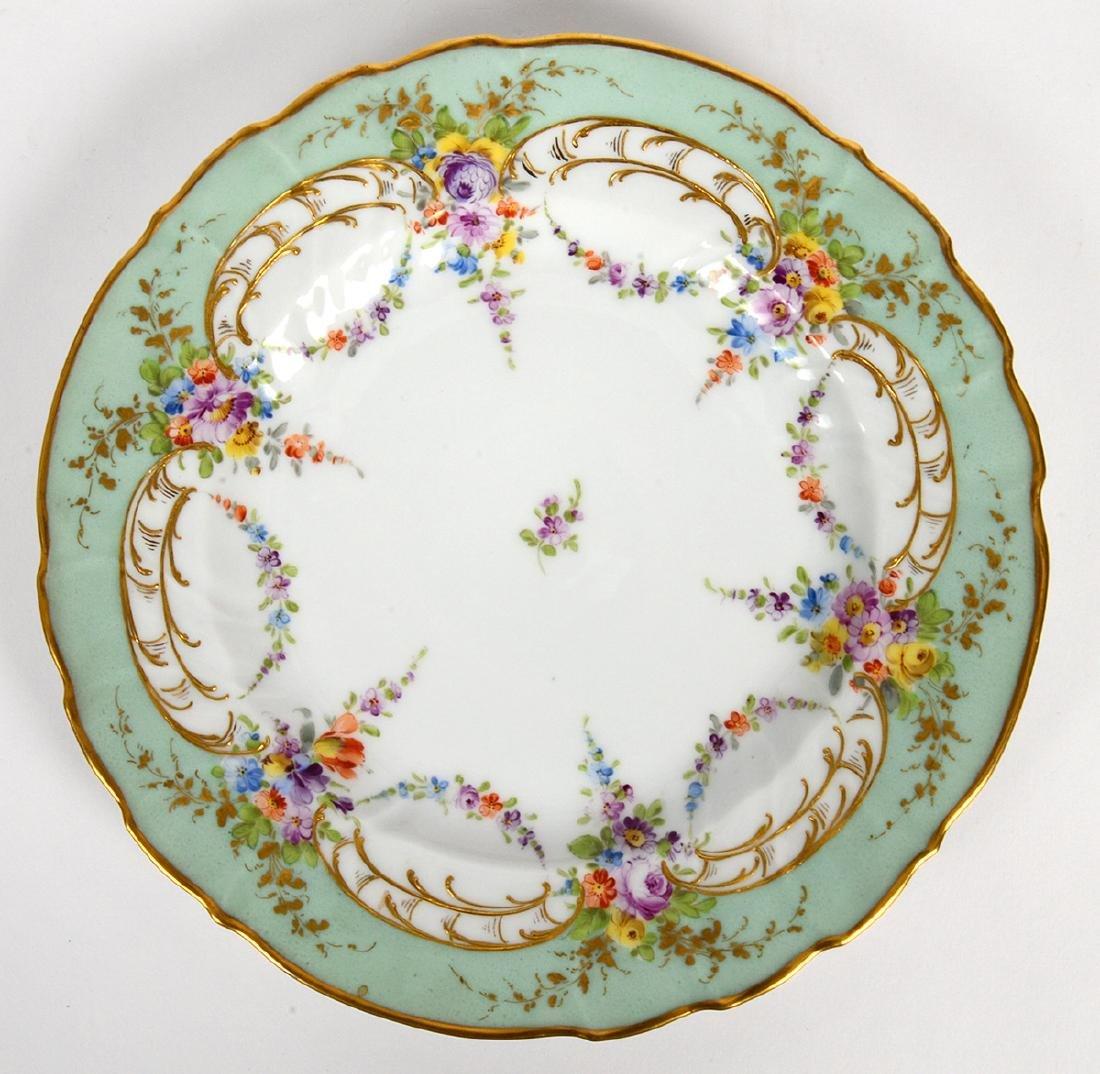 TEN VARIOUS DRESDEN PORCELAIN DINNER PLATES - 8