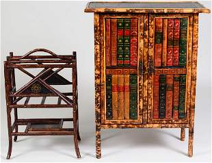 VICTORIAN BOOK-BOUND SPOTTED BAMBOO CABINET