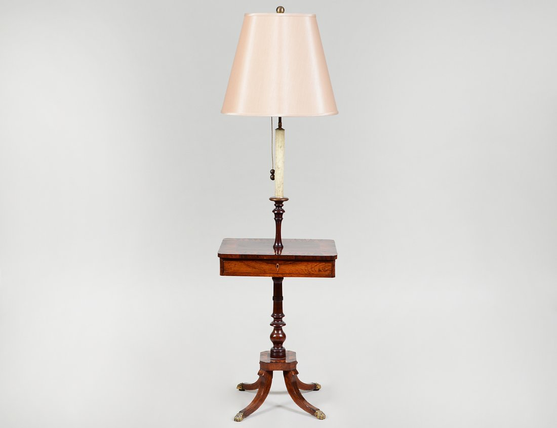 VARIOUS WOOD PARQUETRY OCASSIONAL LAMP TABLE