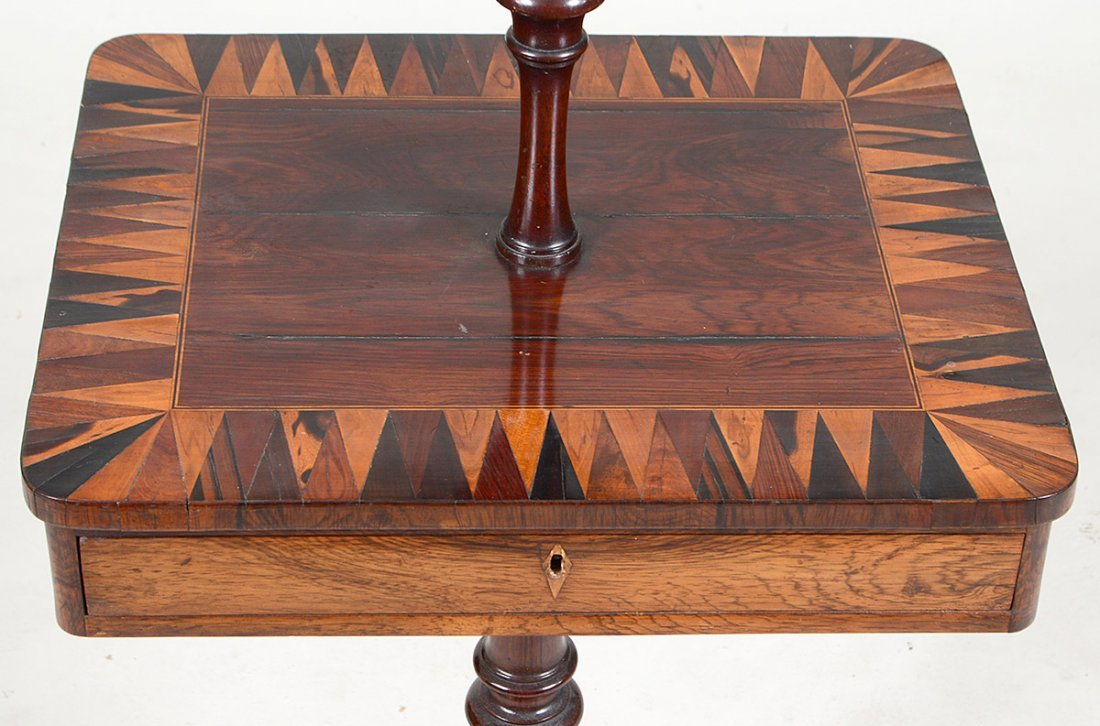 VARIOUS WOOD PARQUETRY OCASSIONAL LAMP TABLE - 3