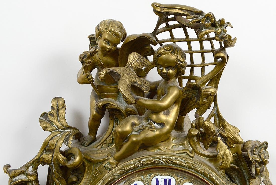 LOUIS XV STYLE BRONZE CARTEL CLOCK - 2