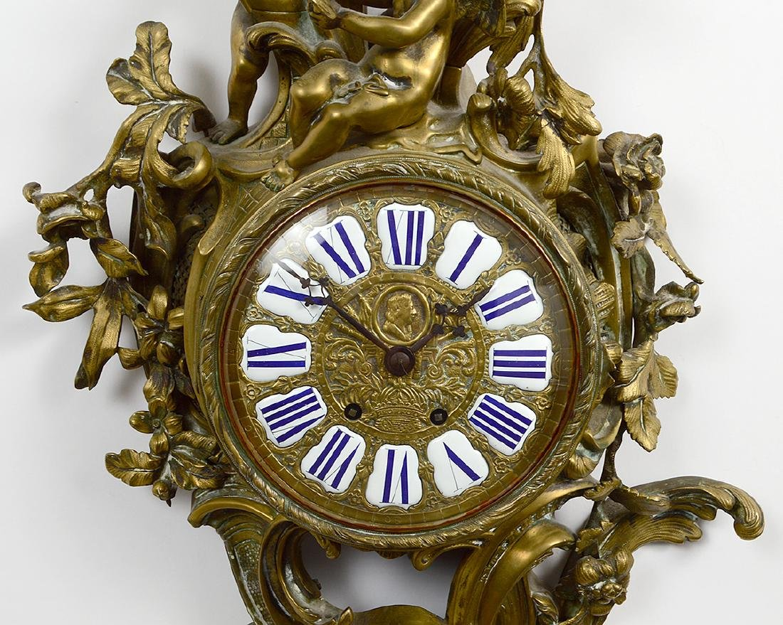 LOUIS XV STYLE BRONZE CARTEL CLOCK - 3