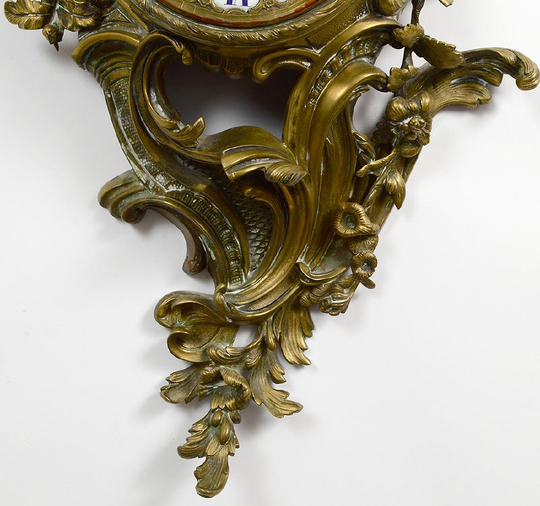 LOUIS XV STYLE BRONZE CARTEL CLOCK - 4