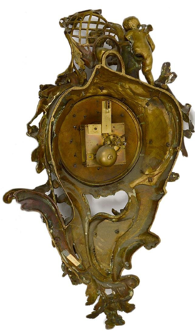 LOUIS XV STYLE BRONZE CARTEL CLOCK - 5