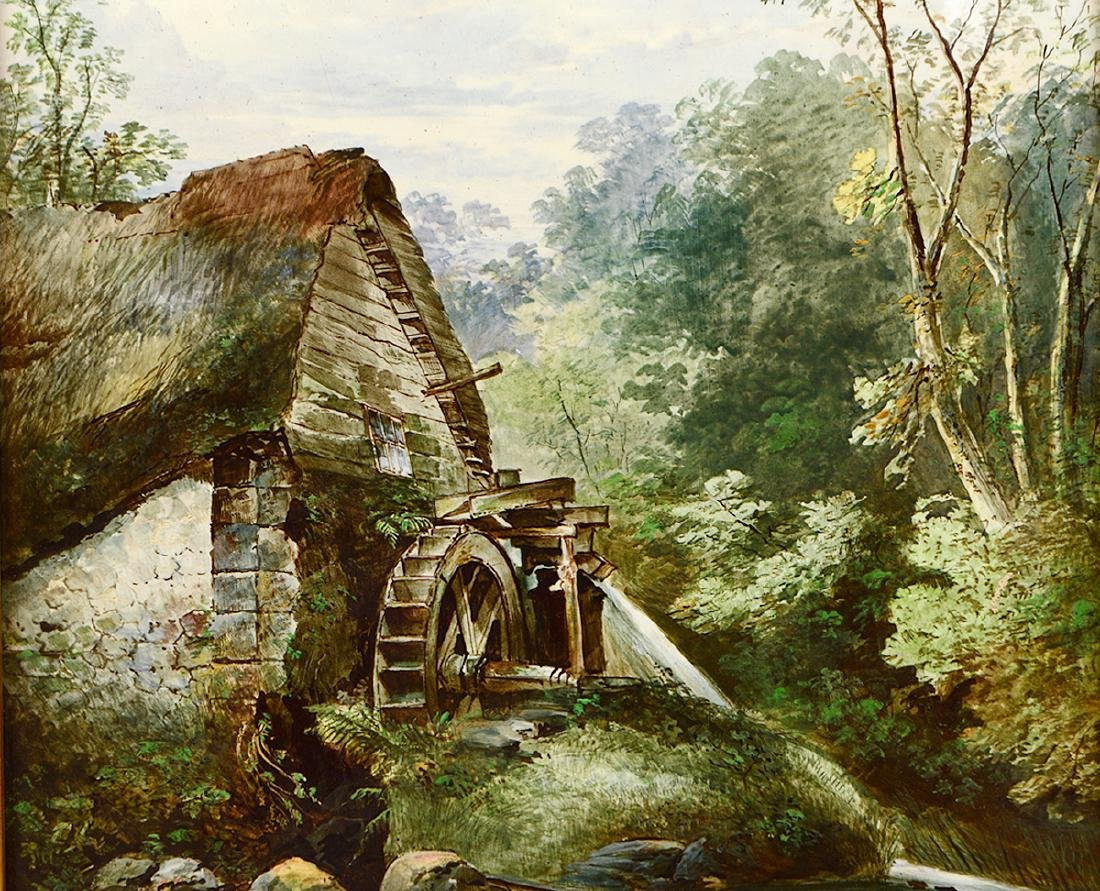 COPELANDS PAINTED PORCELAIN PLAQUE OF THE OLD MILL - 2