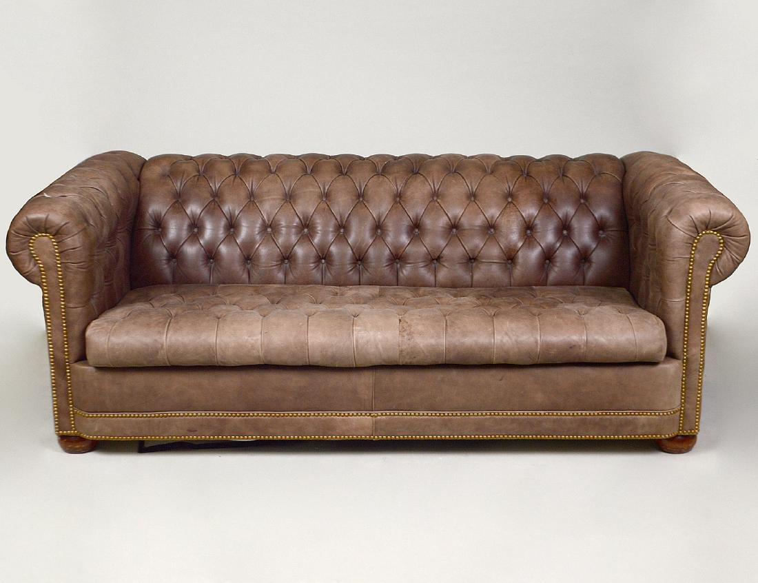 LEATHER BUTTON TUFTED CHESTERFIELD SOFA