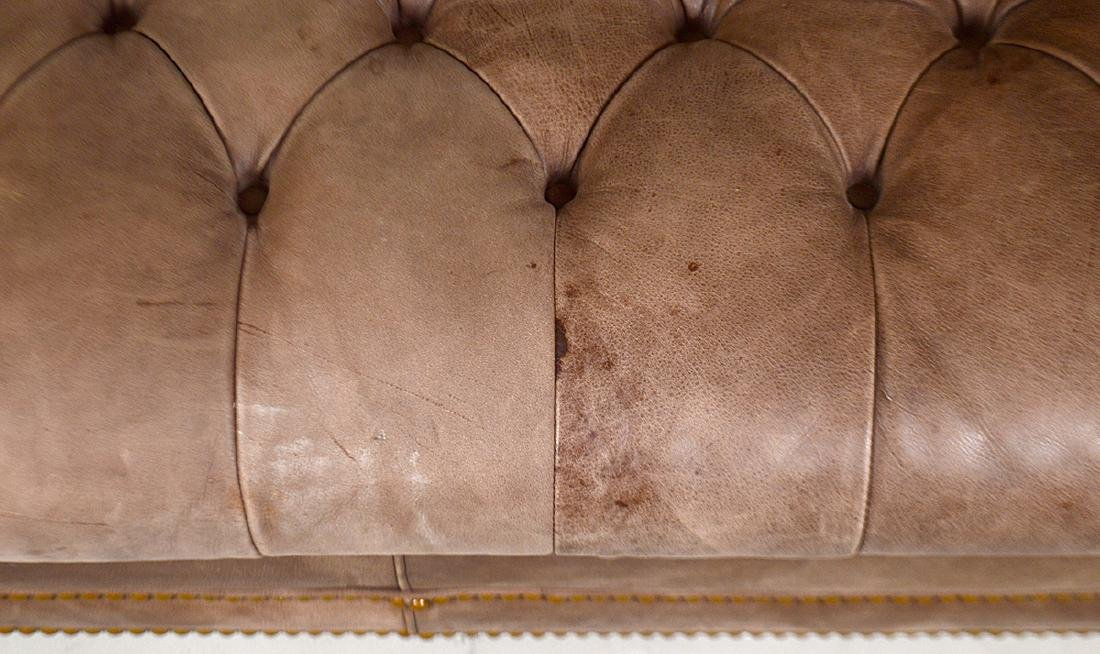 LEATHER BUTTON TUFTED CHESTERFIELD SOFA - 2