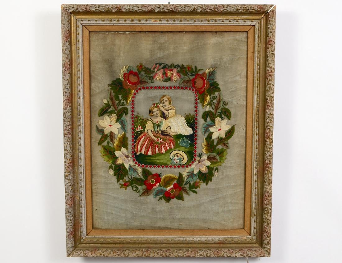 VICTORIAN FRAMED NEEDLEPOINT