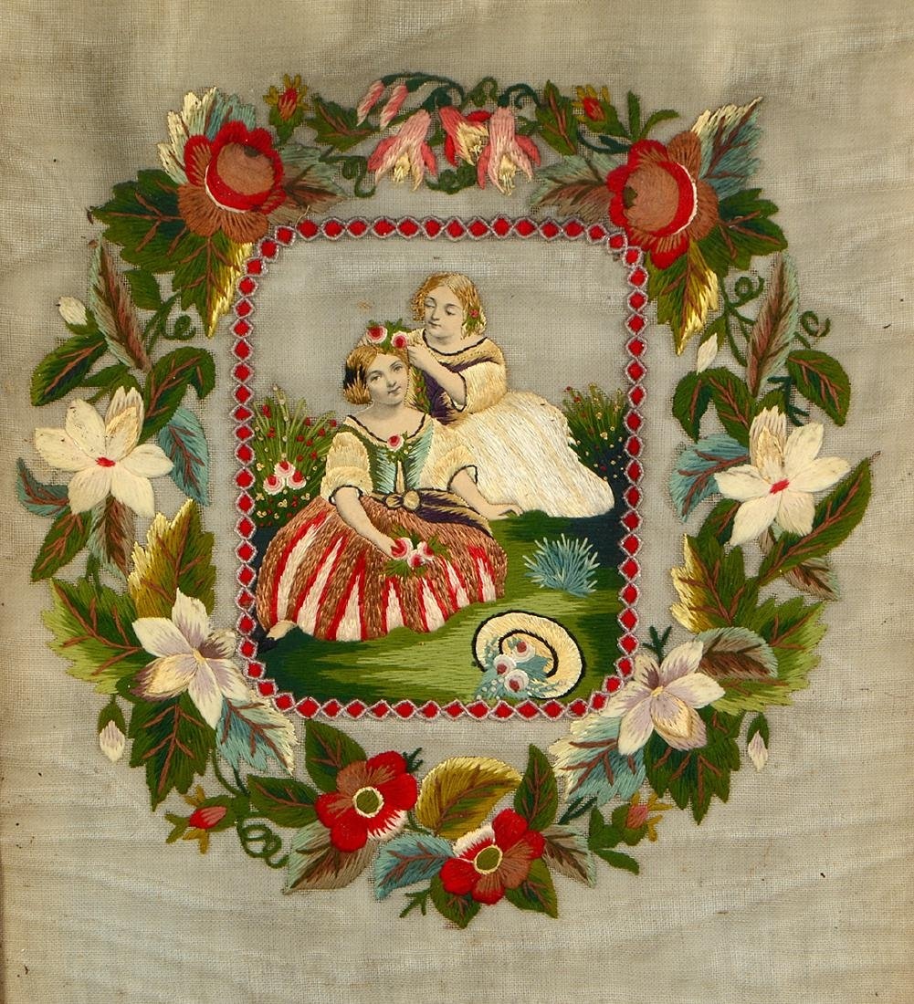 VICTORIAN FRAMED NEEDLEPOINT - 2