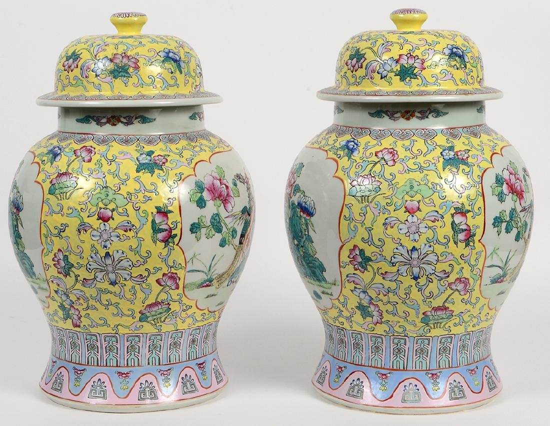 PAIR OF CHINESE FAMILLE ROSE PORCELAIN COVERED VASES - 4