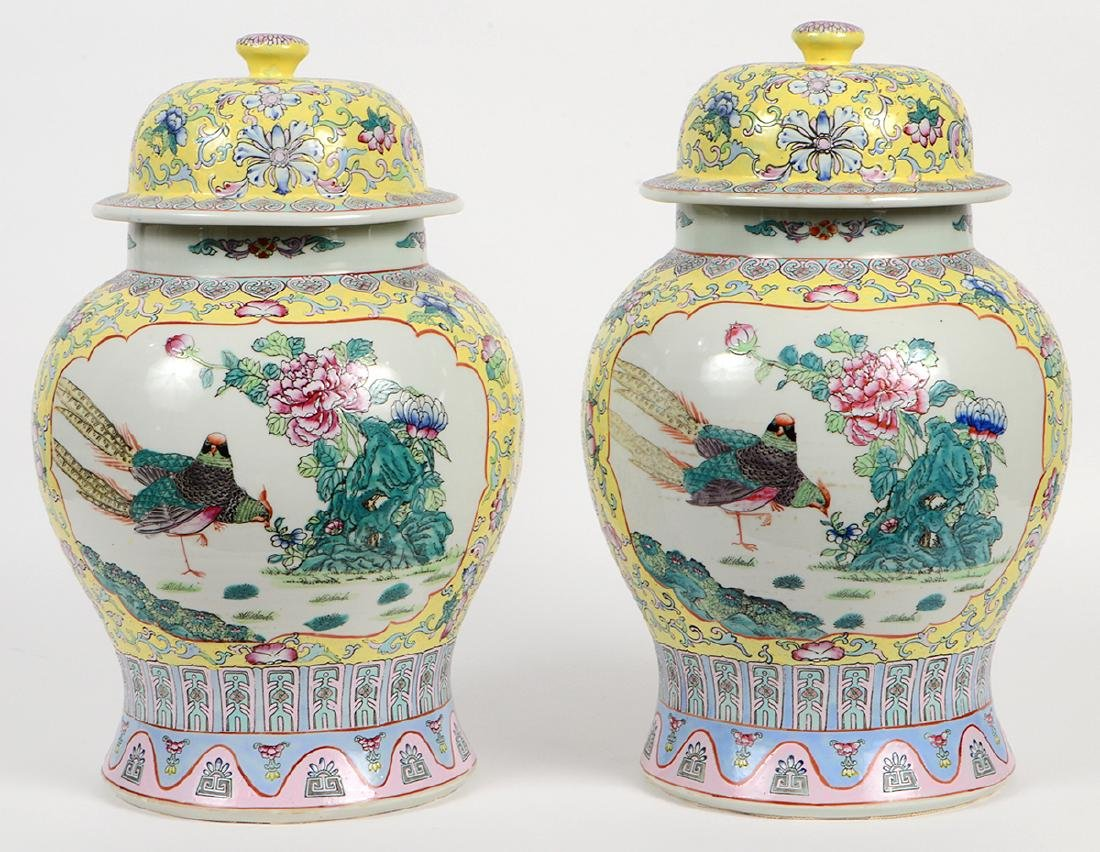 PAIR OF CHINESE FAMILLE ROSE PORCELAIN COVERED VASES - 5