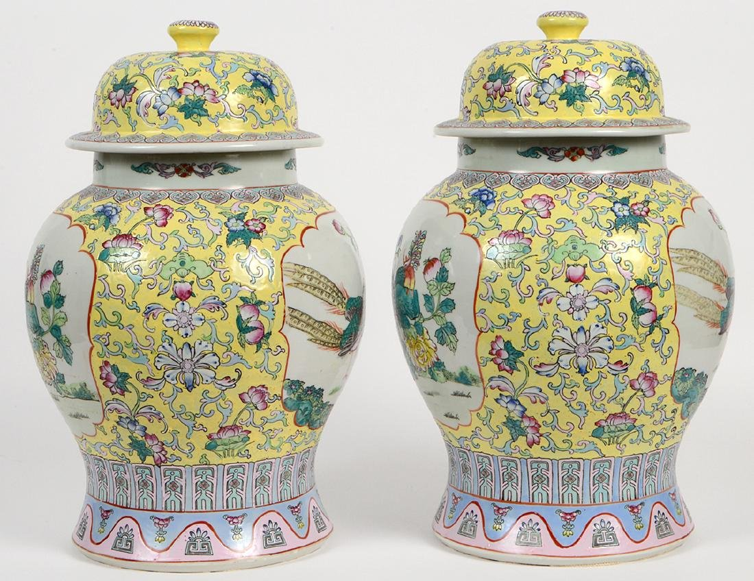 PAIR OF CHINESE FAMILLE ROSE PORCELAIN COVERED VASES - 8