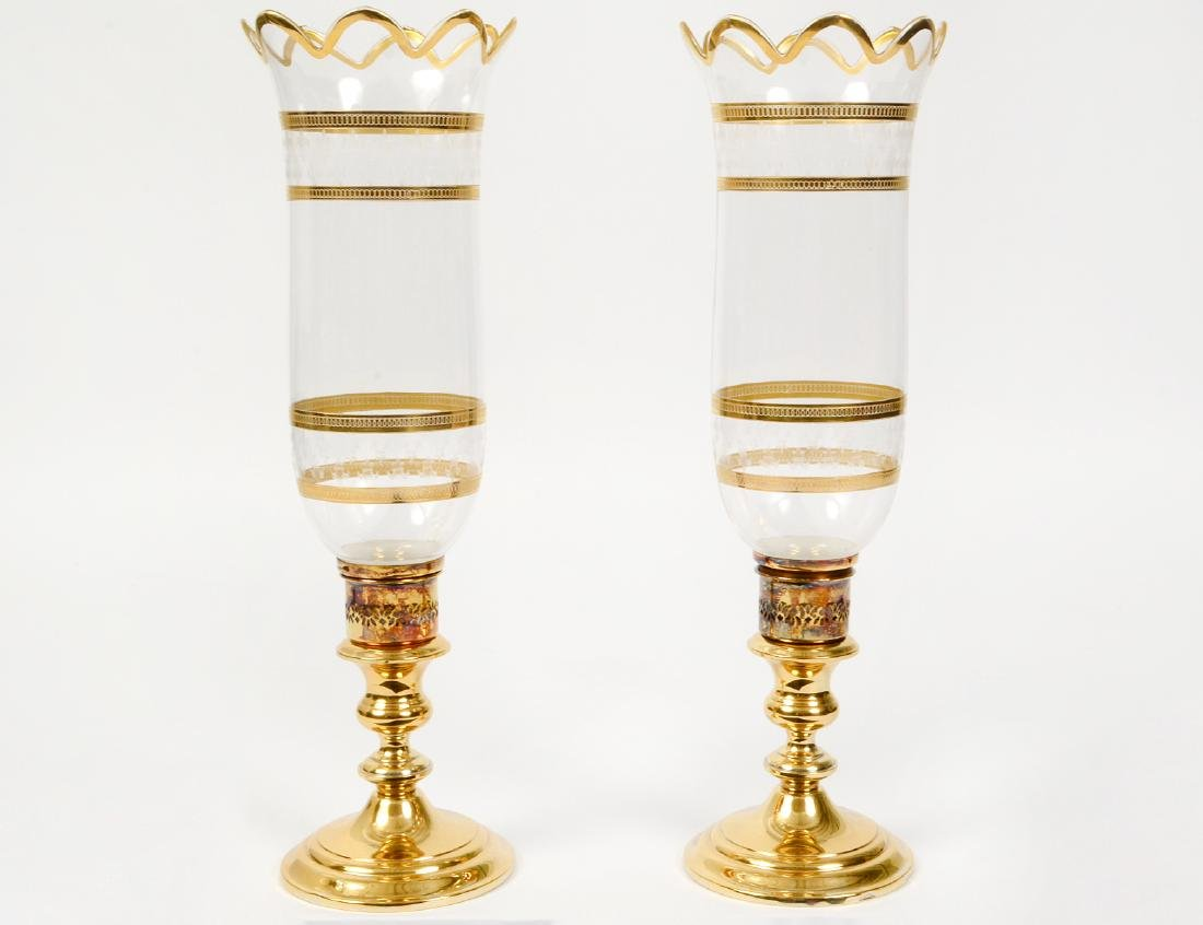 PAIR OF GORHAM GILT SILVER AND GLASS CANDLESTICKS