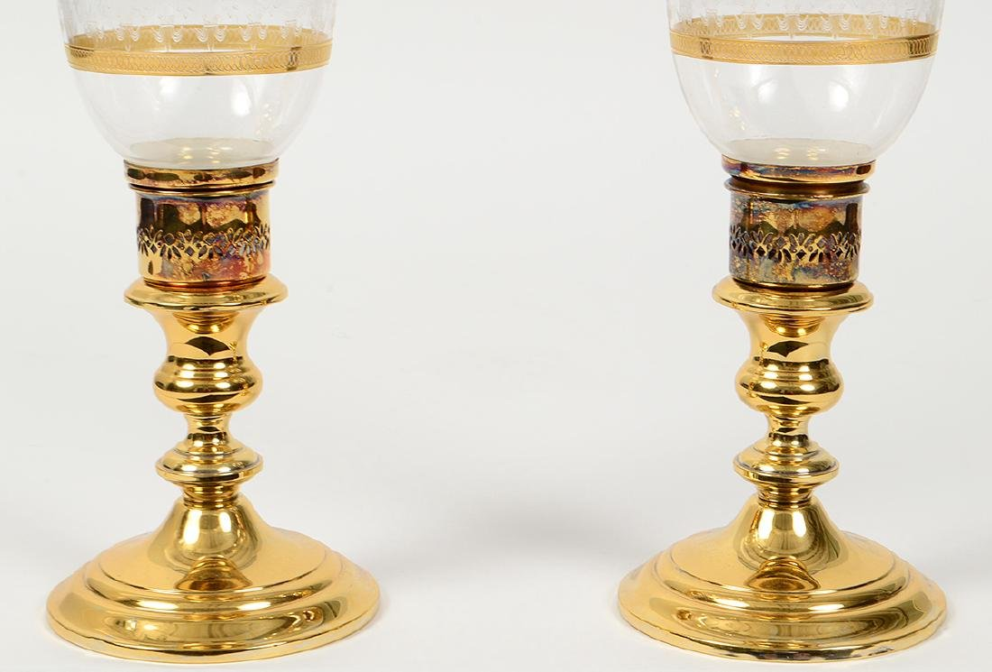 PAIR OF GORHAM GILT SILVER AND GLASS CANDLESTICKS - 2