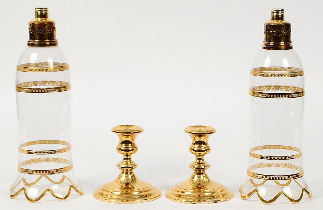 PAIR OF GORHAM GILT SILVER AND GLASS CANDLESTICKS - 4
