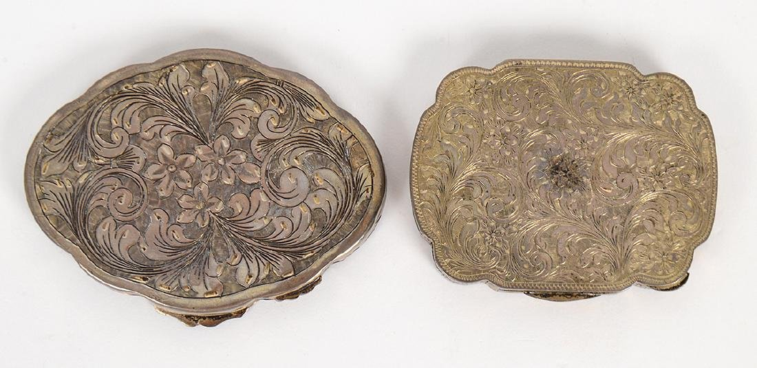 TWO ITALIAN ENAMEL DECORATED SILVER COMPACTS - 4