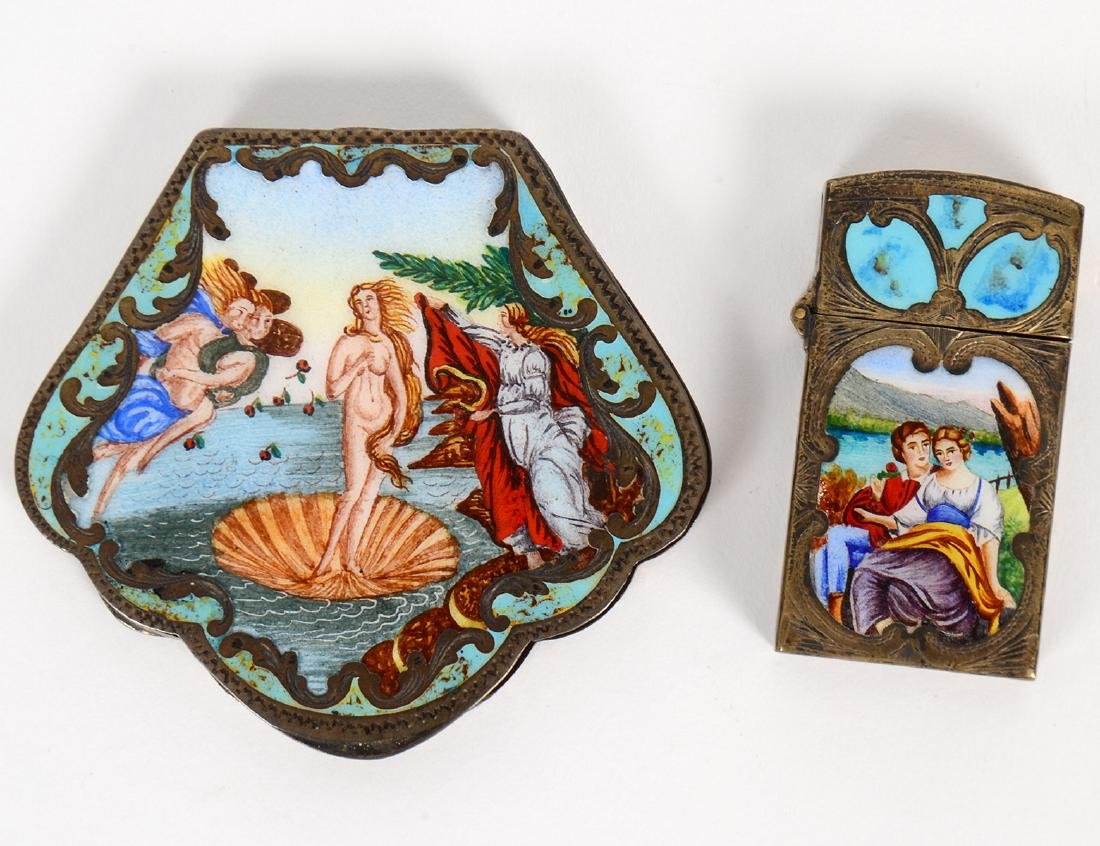 ITALIAN ENAMEL DECORATED SILVER COMPACT & MATCH CASE