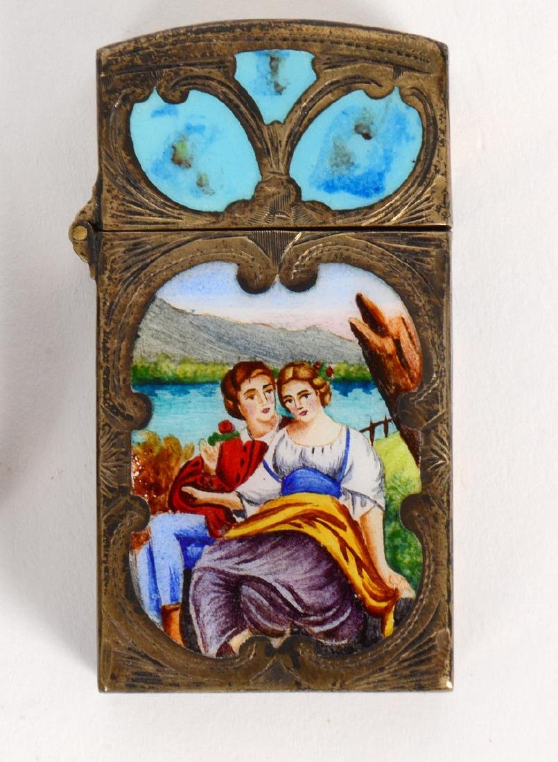 ITALIAN ENAMEL DECORATED SILVER COMPACT & MATCH CASE - 3