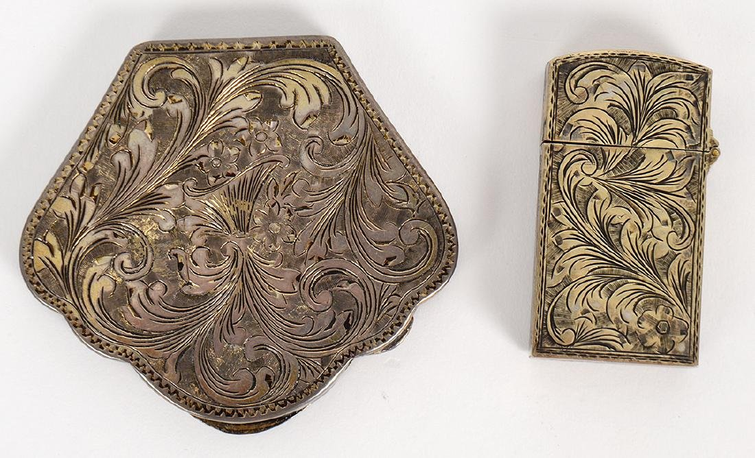ITALIAN ENAMEL DECORATED SILVER COMPACT & MATCH CASE - 4