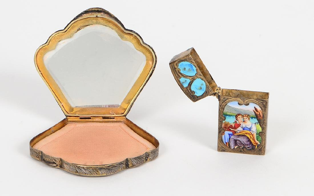 ITALIAN ENAMEL DECORATED SILVER COMPACT & MATCH CASE - 5