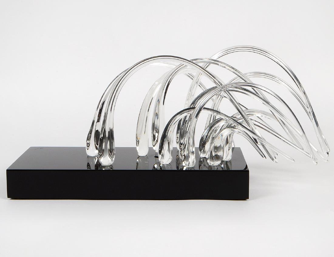 MULTI-PIECE COLORLESS GLASS TABLE SCULPTURE