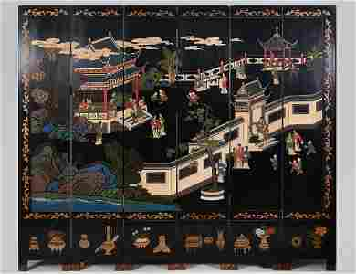 CHINESE BLACK LACQUER SIX-FOLD COROMANDEL SCREEN