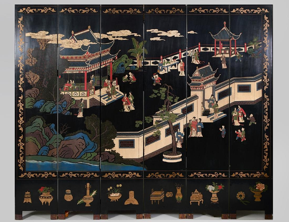 CHINESE BLACK LACQUER SIX-FOLD COROMANDEL SCREEN