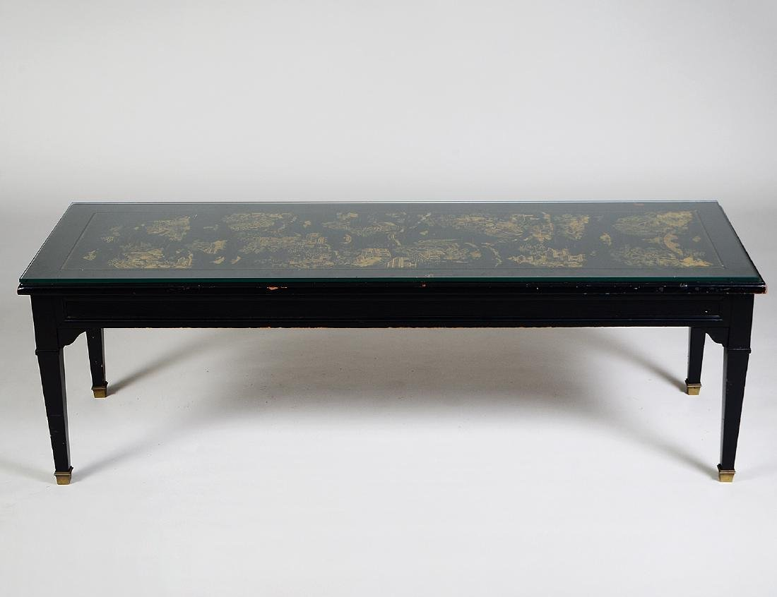 CHINESE GILT& BLACK LACQUER PANEL SET AS A LOW TABLE