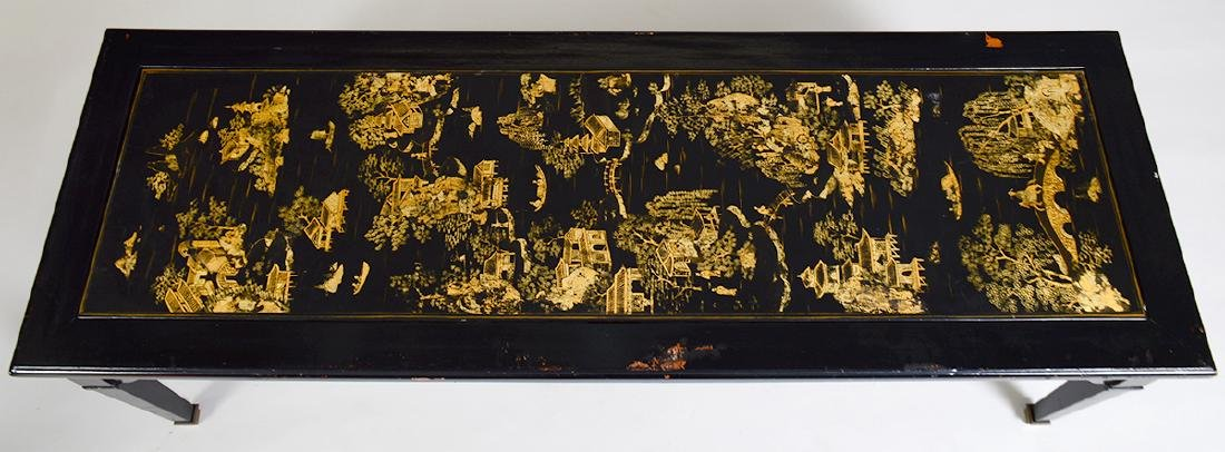 CHINESE GILT& BLACK LACQUER PANEL SET AS A LOW TABLE - 2