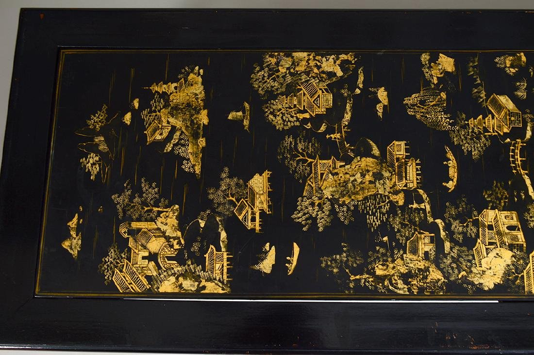 CHINESE GILT& BLACK LACQUER PANEL SET AS A LOW TABLE - 3