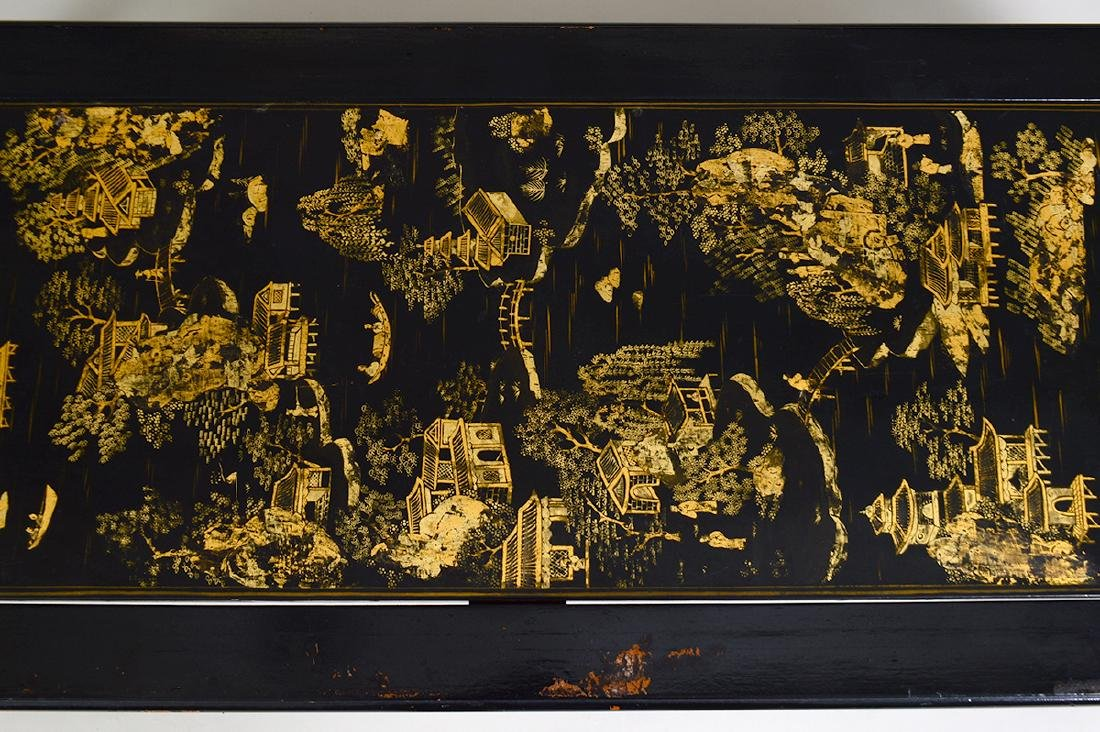 CHINESE GILT& BLACK LACQUER PANEL SET AS A LOW TABLE - 4