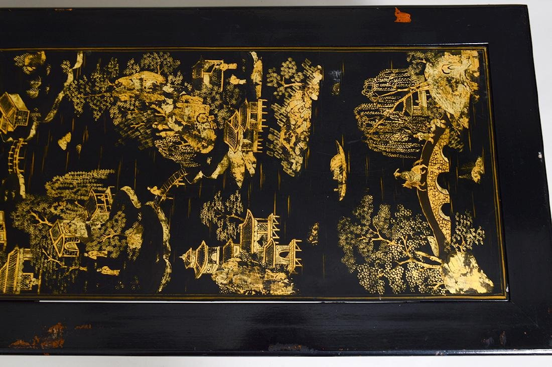 CHINESE GILT& BLACK LACQUER PANEL SET AS A LOW TABLE - 5