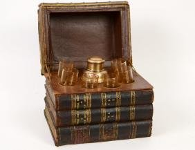 Leather-bound Book Stack Decanter Case