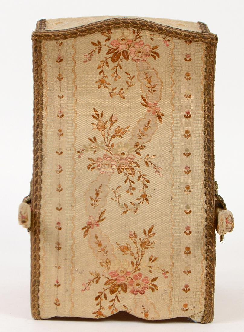 FRENCH FABRIC MOUNTED 'SEDAN' FORM JEWELRY CASE - 4