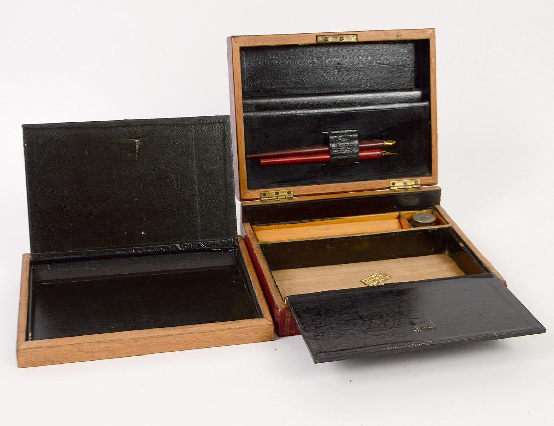 FRENCH LEATHER MOUNTED TRAVELLING LAP DESK